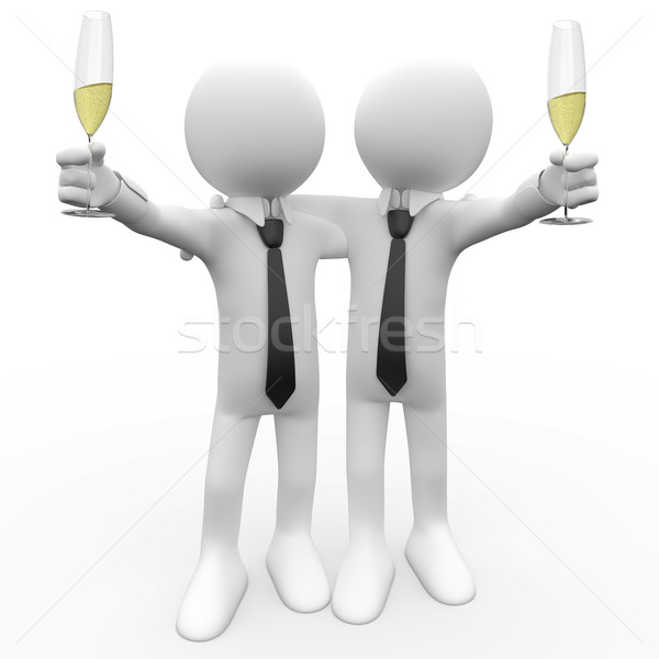 Friends making a toast with a glass of champagne Stock photo © texelart