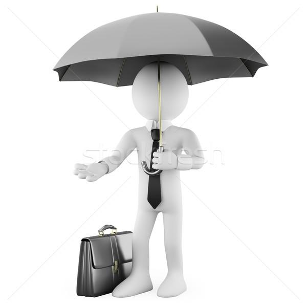 Stok fotoğraf: Işadamı · şemsiye · evrak · çantası · render · yüksek · karar