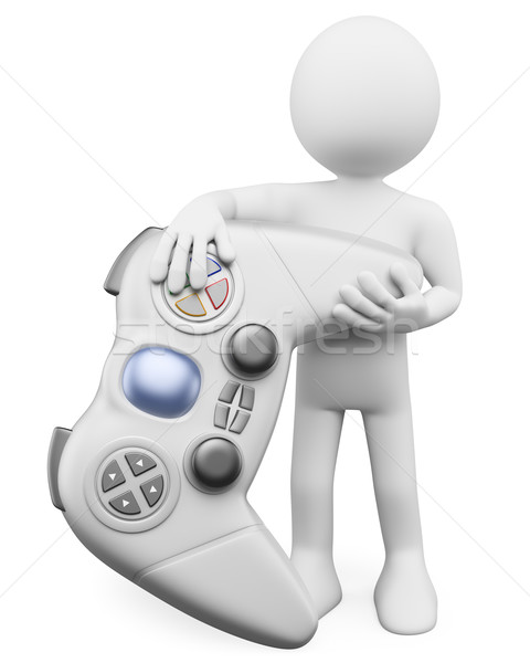 3D white people. Child with a gamepad Stock photo © texelart