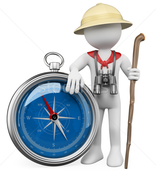 3D white people. Explorer with compass Stock photo © texelart