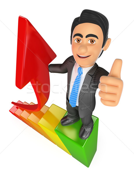 3D Businessman in the top of a bar graph. Growth metaphor Stock photo © texelart