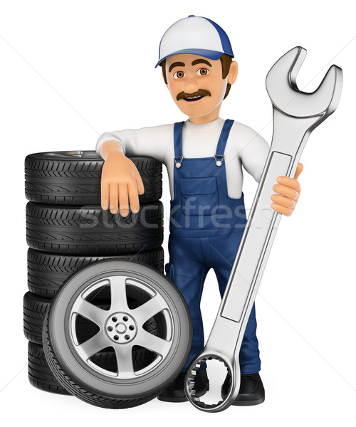3D Mechanic with a stack of tyres and a huge wrench Stock photo © texelart