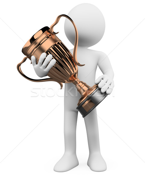 3D man with a bronze trophy in the hands Stock photo © texelart