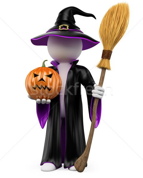 3D halloween pessoas brancas bruxa abóbora voador Foto stock © texelart