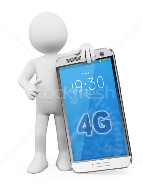 3D fehér emberek 4g mobiltelefon férfi technológia Stock fotó © texelart