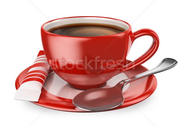 3D csésze kávé cukor kanál piros Stock fotó © texelart
