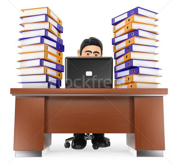 3D Businessman in the office with much work to do Stock photo © texelart