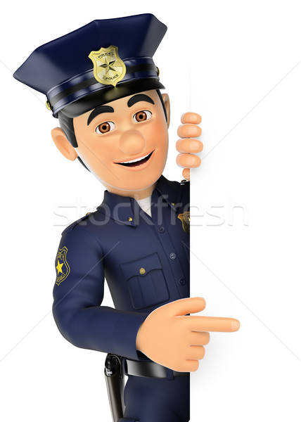 3D Policeman pointing aside. Blank space Stock photo © texelart