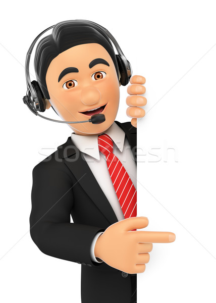 3D Call center employee pointing aside. Blank space Stock photo © texelart