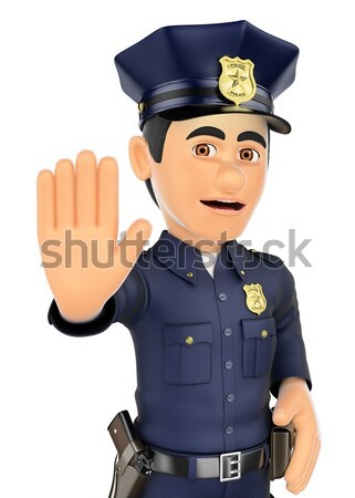 3D Policeman pointing a gun in front Stock photo © texelart