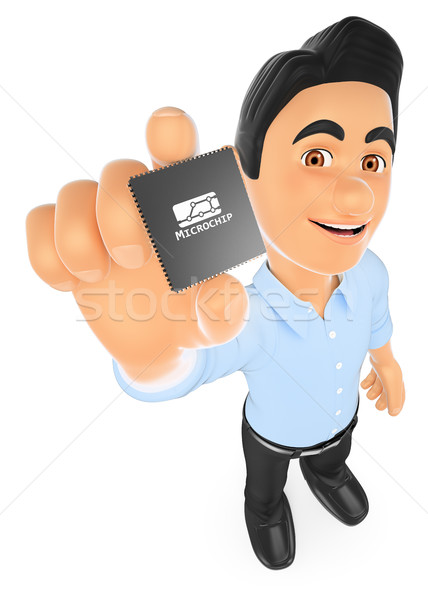 3D Information technology technician showing a microprocessor Stock photo © texelart