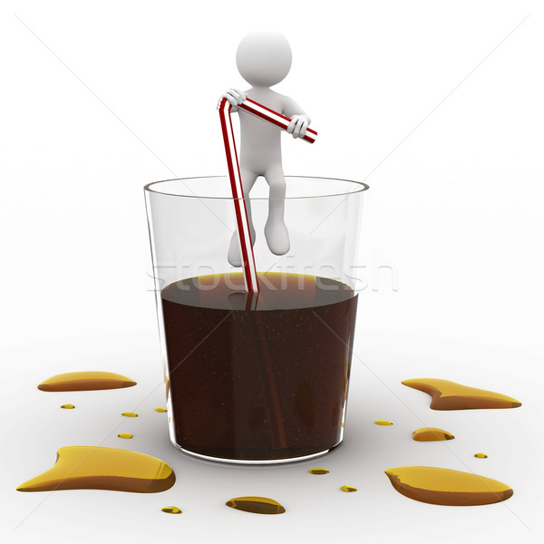 Man sitting in a giant glass of cola Stock photo © texelart