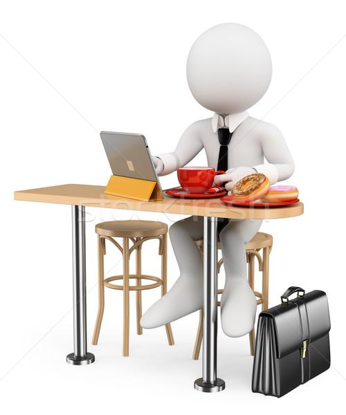 Stock fotó: 3D · fehér · emberek · üzletember · reggeli · tabletta · fánkok