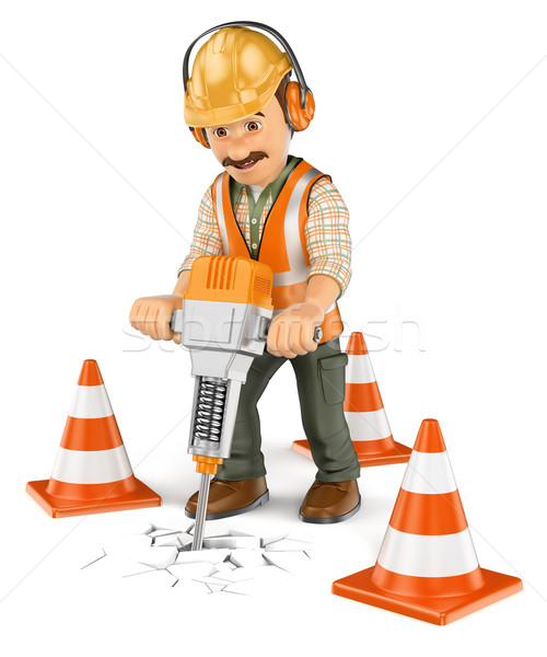 3D Construction worker with a handheld hydraulic breaker Stock photo © texelart