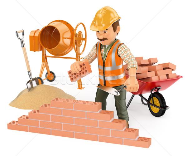 3D Construction worker building a brick wall Stock photo © texelart