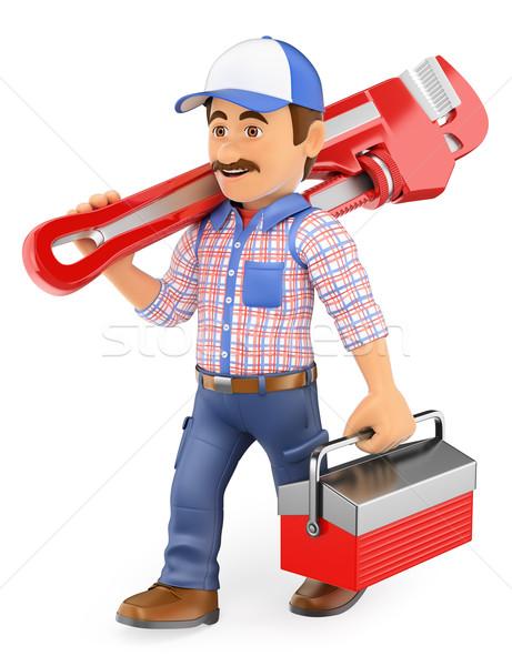 3D loodgieter lopen pijp sleutel toolbox Stockfoto © texelart