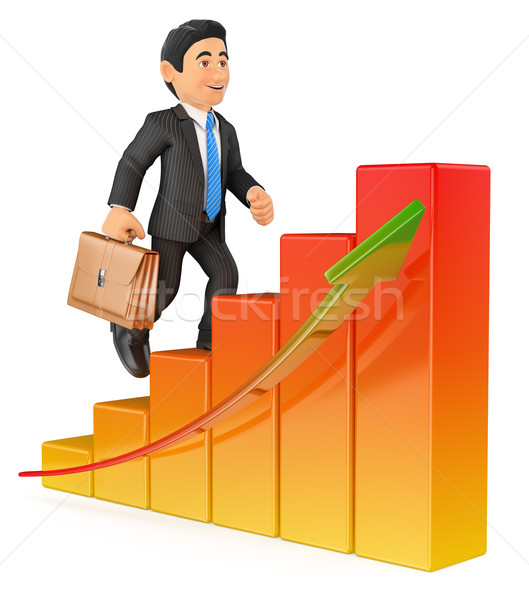 3D Businessman climbing a bar graph Stock photo © texelart