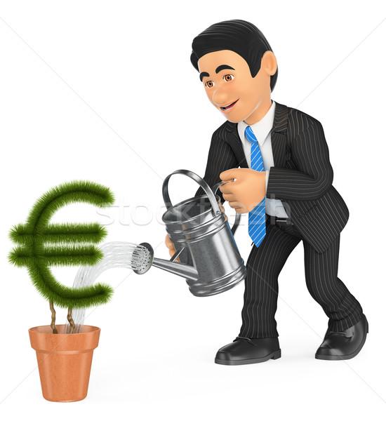 3D zakenman euro pot Stockfoto © texelart