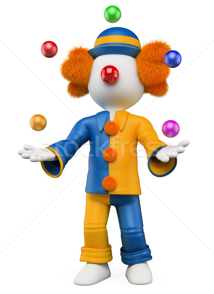 3D white people. Clown juggler Stock photo © texelart
