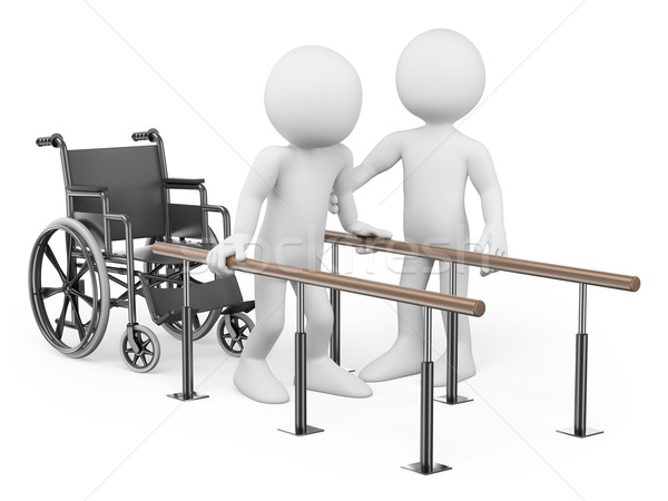 3D white people. Man recovering from his injury Stock photo © texelart