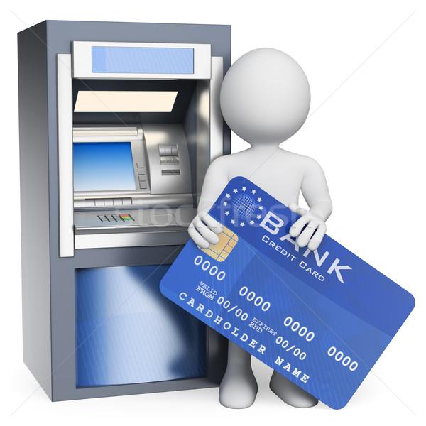 3D белые люди атм кредитных карт изолированный белый Сток-фото © texelart