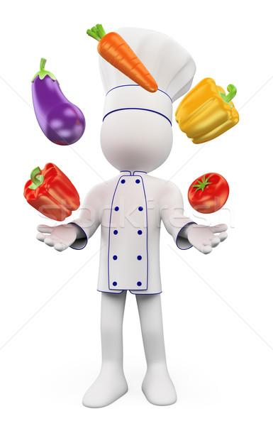 3D witte mensen chef jongleren groenten peper Stockfoto © texelart