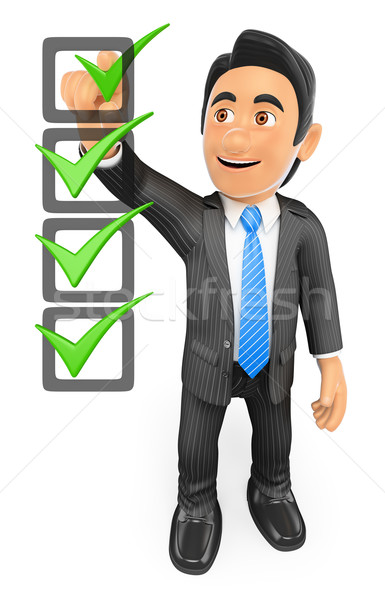 3D Businessman filling a check list Stock photo © texelart