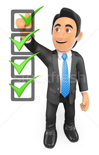 3D işadamı doldurma kontrol liste iş adamları Stok fotoğraf © texelart