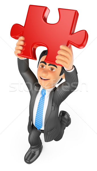 3D Businessman putting a red puzzle piece. Solution Stock photo © texelart