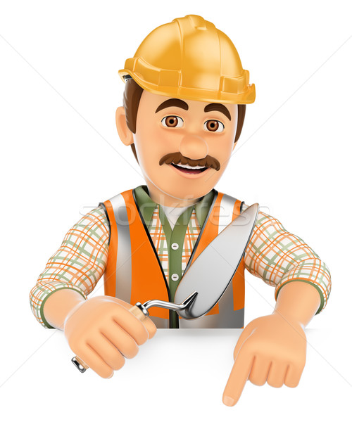 3D Construction worker with a trowel pointing down. Blank space Stock photo © texelart