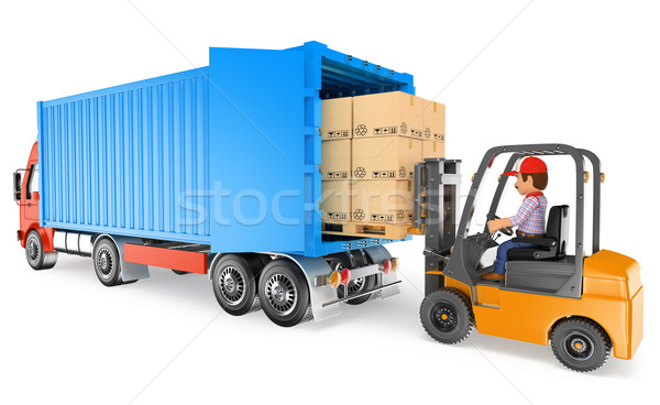 3D Worker driving a forklift loading a container truck Stock photo © texelart