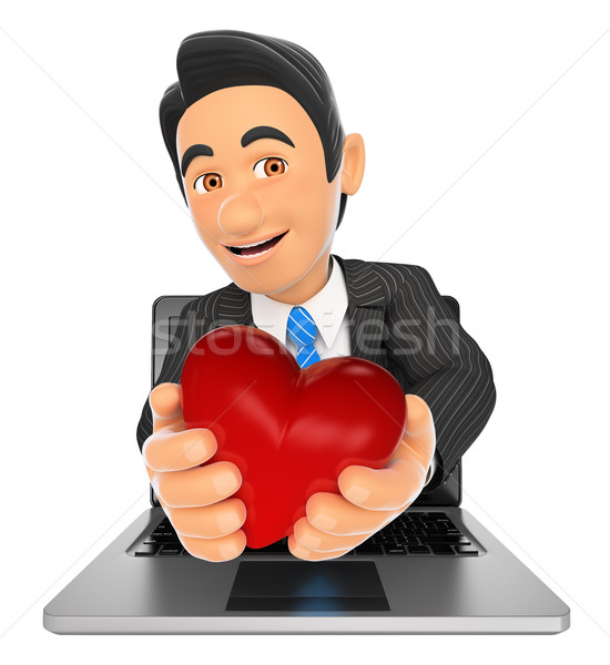 3D Businessman coming out a laptop screen with a red heart Stock photo © texelart