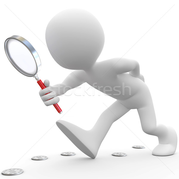 Man with magnifying glass looking for coins Stock photo © texelart