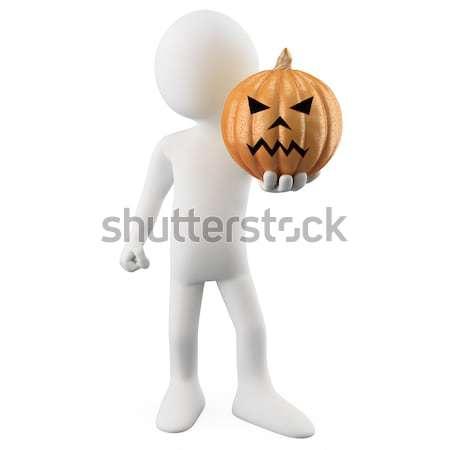 Stock photo: 3D human with a pumpkin head