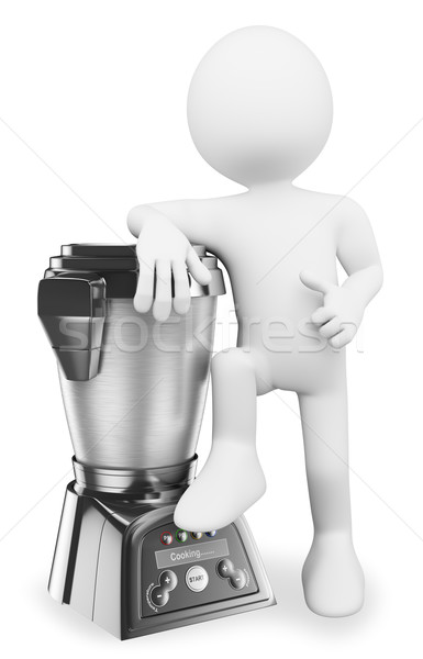 3D white people. Man with a modern food processor Stock photo © texelart
