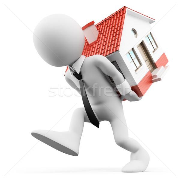 3D weiße Menschen Geschäftsmann tragen Haus Hypothek Stock foto © texelart