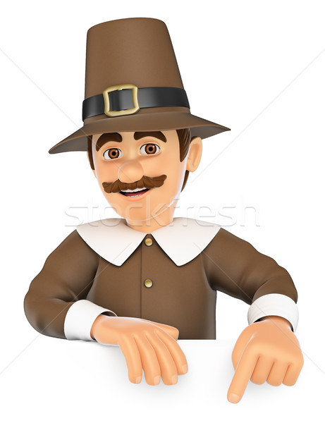 3D Thanksgiving man pointing down. Blank space Stock photo © texelart