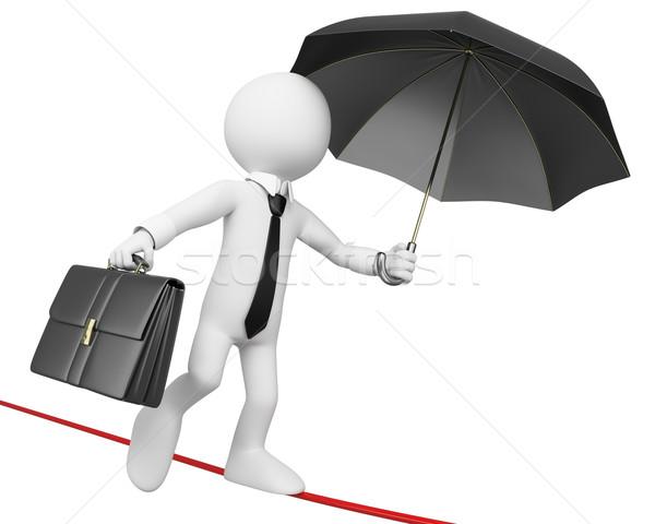 3D businessman white people. Businessman doing balance not to fa Stock photo © texelart