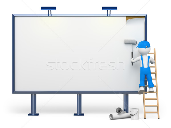 3D white people. Blank billboard Stock photo © texelart