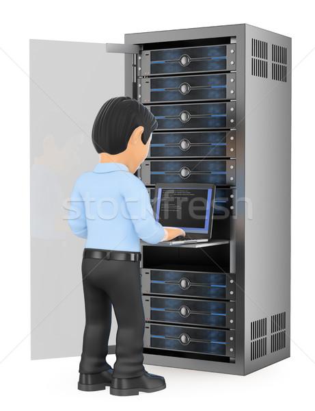 3D technologia informacyjna technik pracy rack sieci Zdjęcia stock © texelart