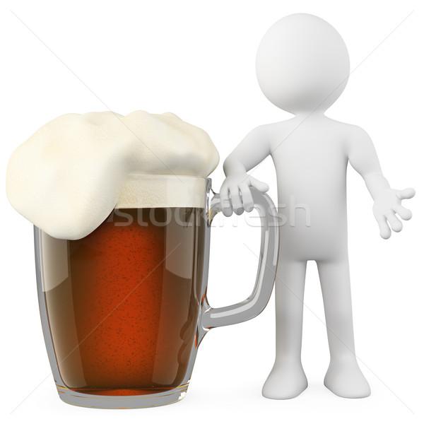 Férfi dől sötét sör renderelt magas Stock fotó © texelart
