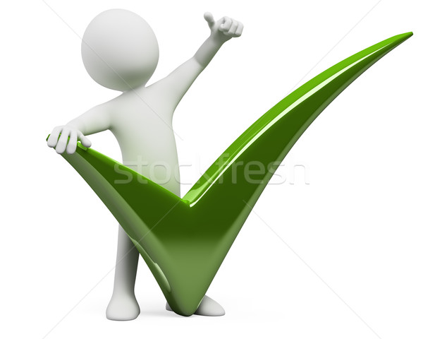 3D man with a huge tick and thumb up Stock photo © texelart
