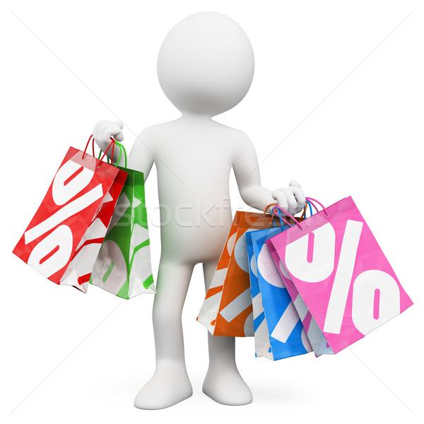 3D blancs Shopping ventes blanche personne Photo stock © texelart