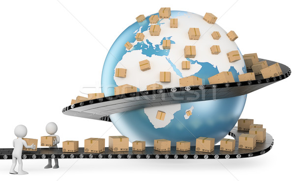 3D white people. International Delivery Service Stock photo © texelart