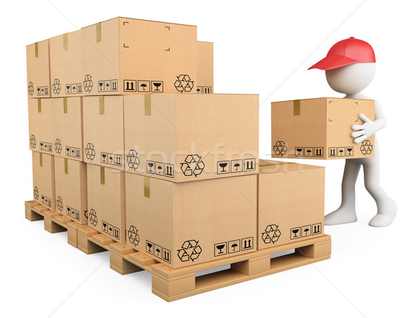 Stock photo: 3D white people. Stock boy stacking boxes