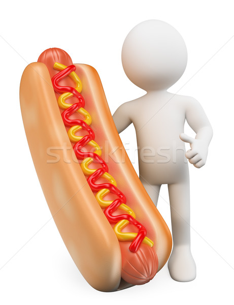 Stockfoto: 3D · witte · mensen · man · hot · dog · ketchup · mosterd