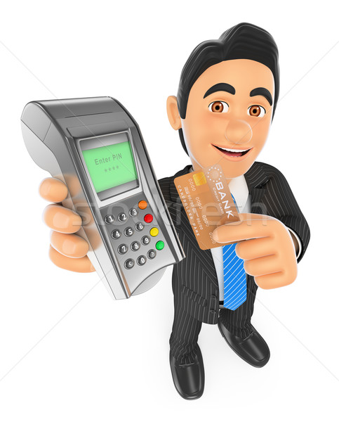Stock photo: 3D Businessman paying with a credit card in a bank terminal
