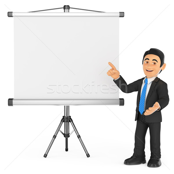 3D üzletember projektor képernyő üzletemberek izolált Stock fotó © texelart
