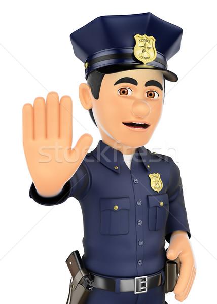 3D rendőr stop kéz biztonság erők Stock fotó © texelart