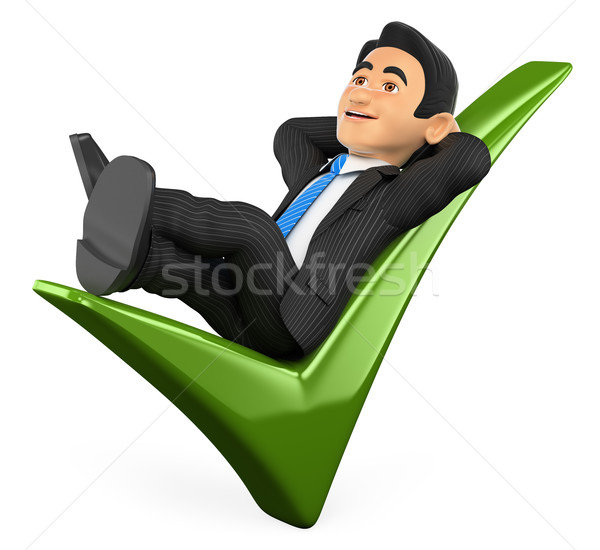 3D Businessman lying on a green tick Stock photo © texelart